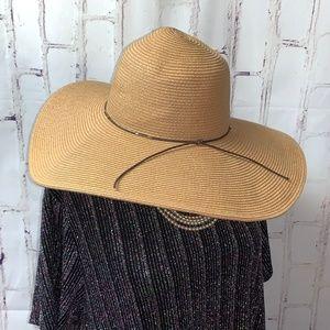 "Fine Woven Straw Floppy Boho Sun Hat 5"" Brim S/M"